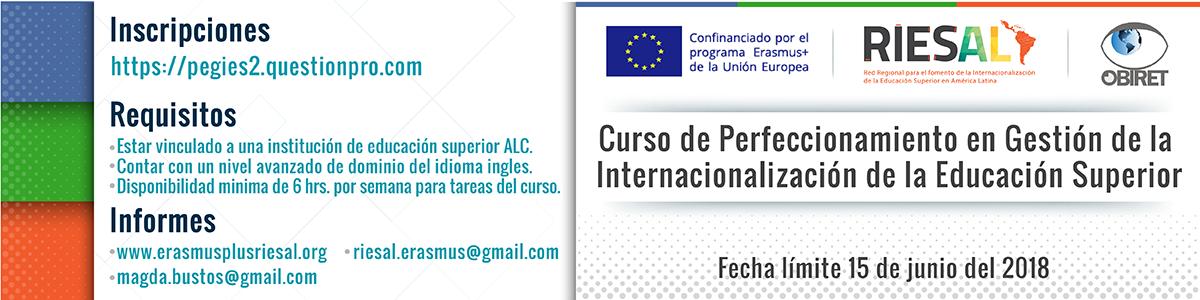 Curso de Perfeccionamiento en Gestión de la Internacionalización de la Educación Superior - Fecha límite 15 de junio de 2018